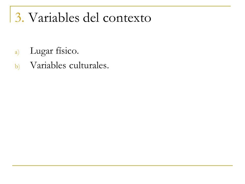 3. Variables del contexto