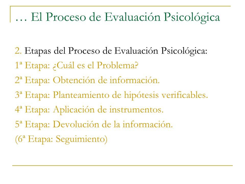 … El Proceso de Evaluación Psicológica