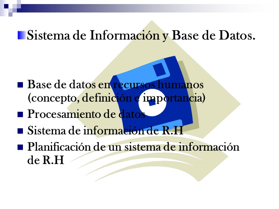 Sistema de Información y Base de Datos.