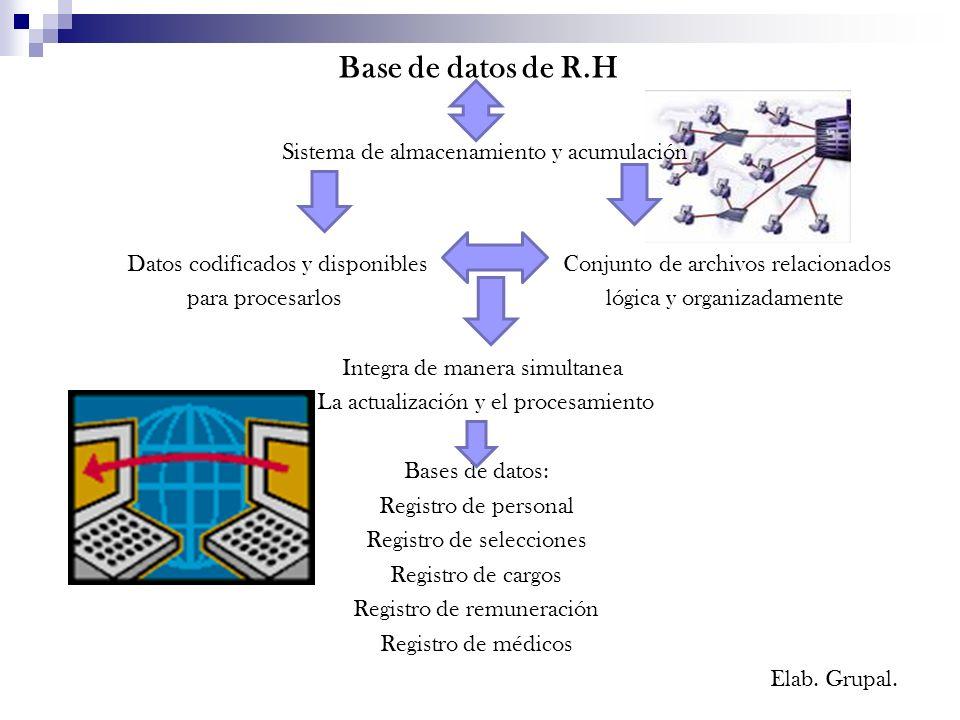 Base de datos de R.H Sistema de almacenamiento y acumulación Datos codificados y disponibles Conjunto de archivos relacionados para procesarlos lógica y organizadamente Integra de manera simultanea La actualización y el procesamiento Bases de datos: Registro de personal Registro de selecciones Registro de cargos Registro de remuneración Registro de médicos Elab.