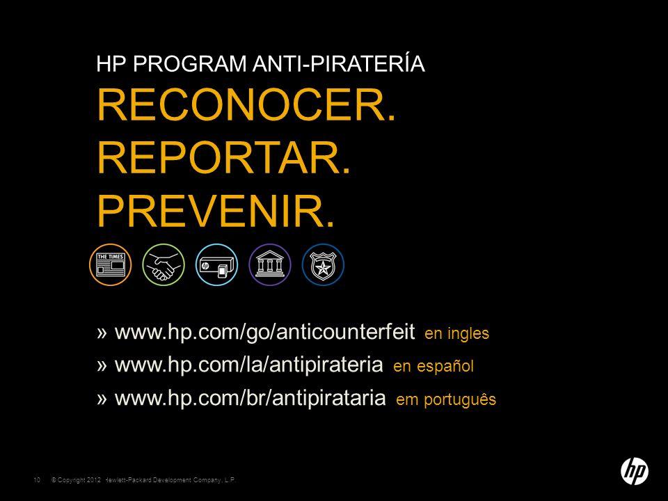 HP program Anti-piratería reconocer. Reportar. Prevenir.