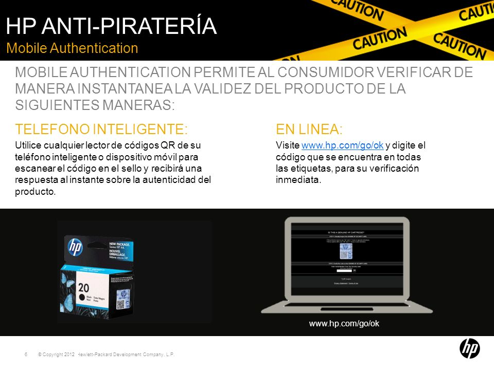 HP Anti-piratería Mobile Authentication