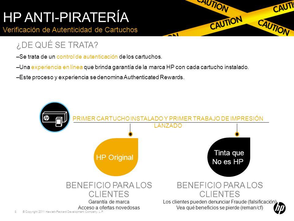 HP Anti-piratería ¿DE QUÉ SE TRATA BENEFICIO PARA LOS CLIENTES