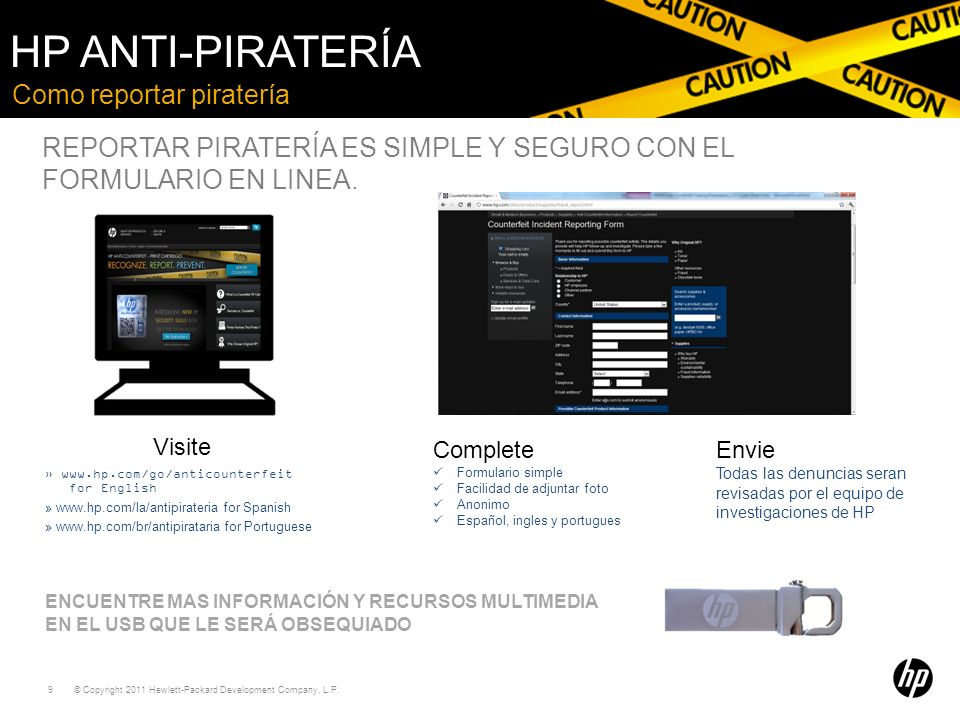 HP Anti-piratería Como reportar piratería