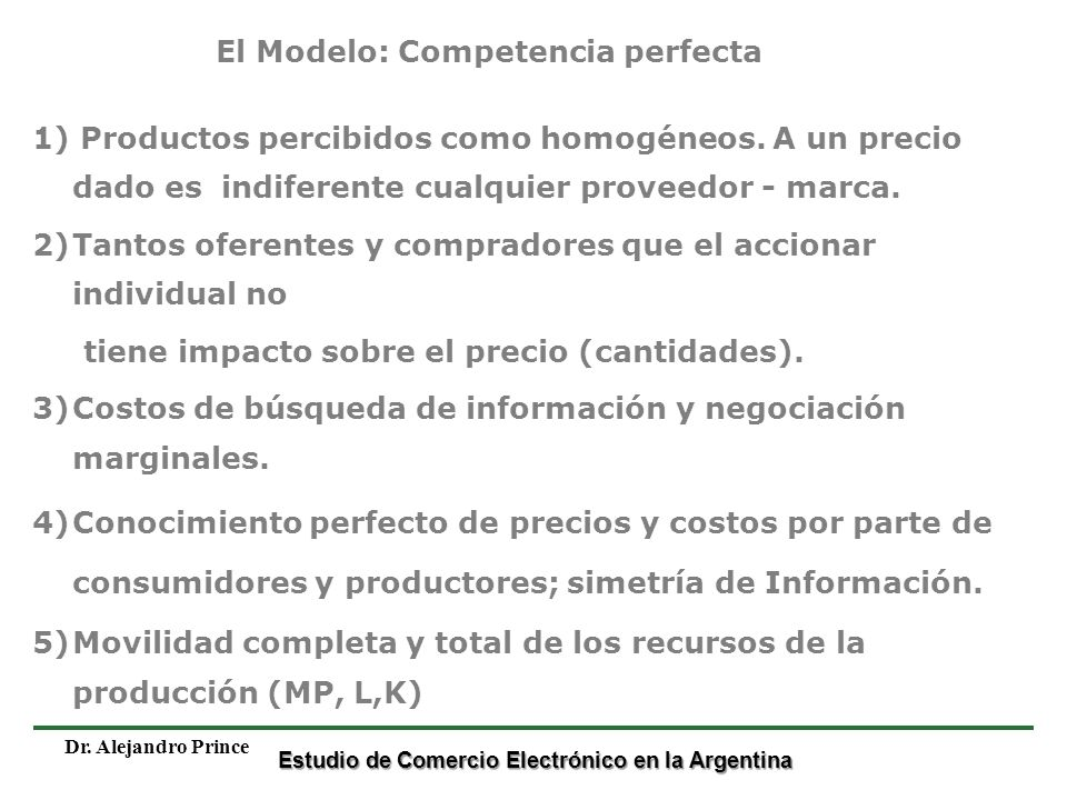 El Modelo: Competencia perfecta
