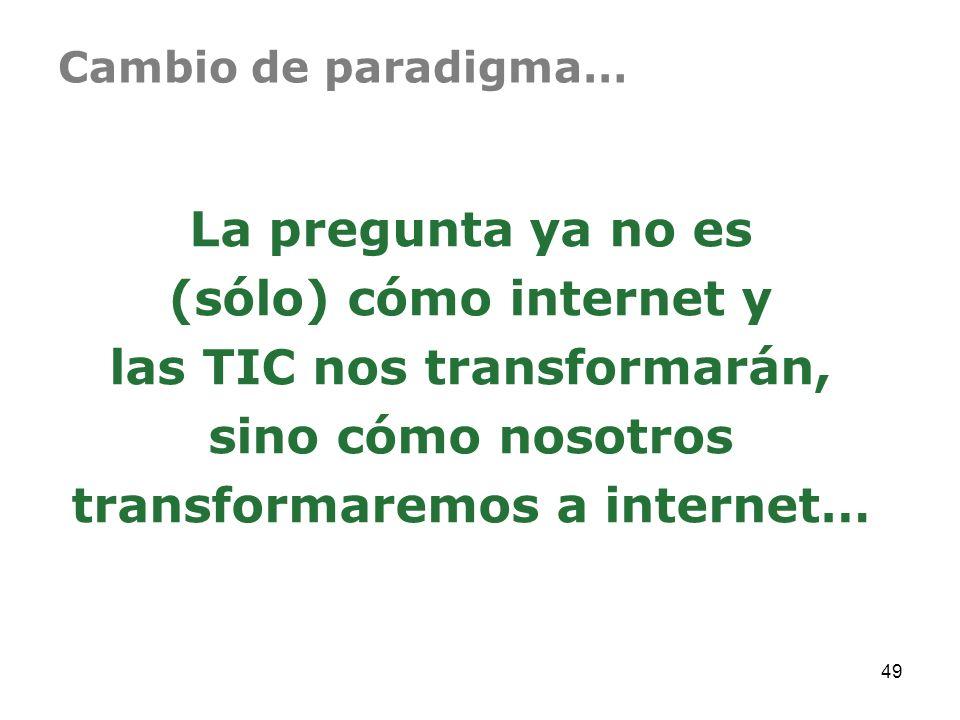 Cambio de paradigma… La pregunta ya no es (sólo) cómo internet y las TIC nos transformarán, sino cómo nosotros transformaremos a internet…