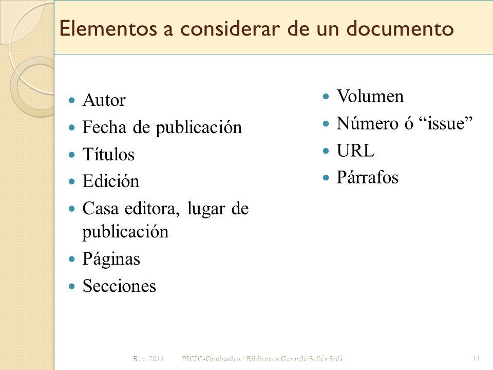 Elementos a considerar de un documento
