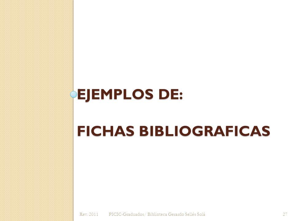 Ejemplos de: Fichas Bibliograficas