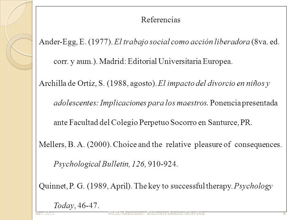 Referencias Ander-Egg, E. (1977)