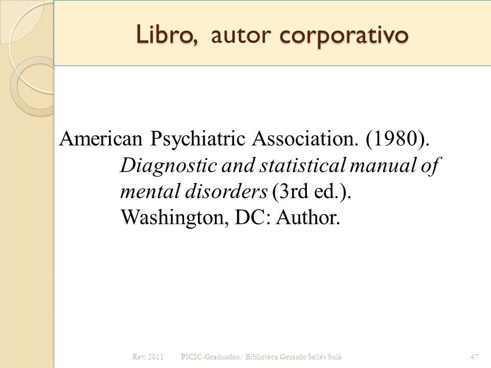 Libro, autor corporativo