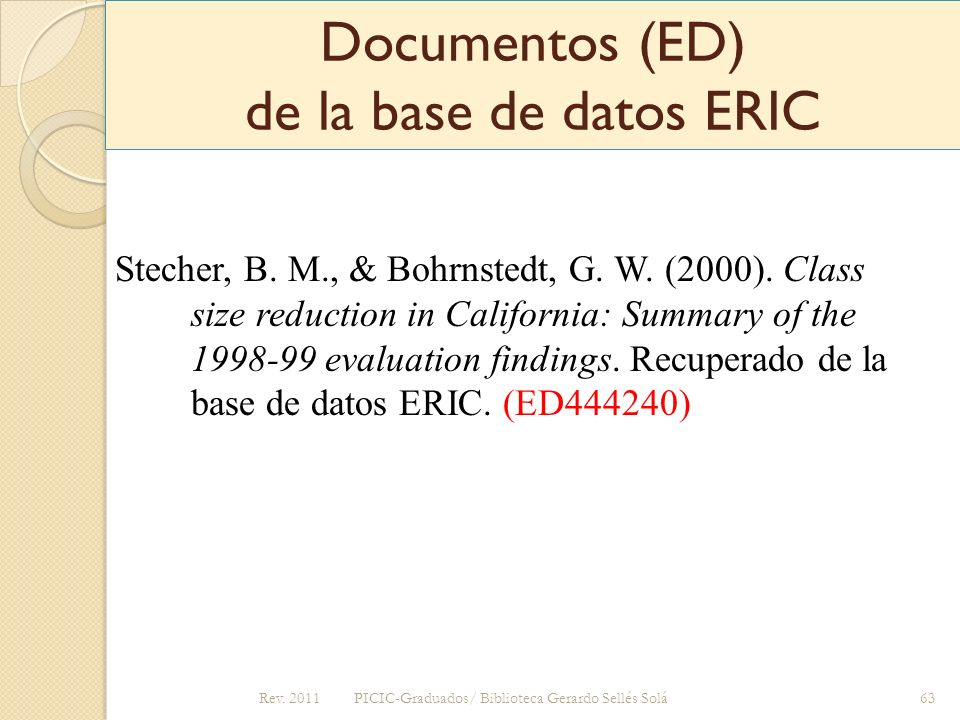 Documentos (ED) de la base de datos ERIC