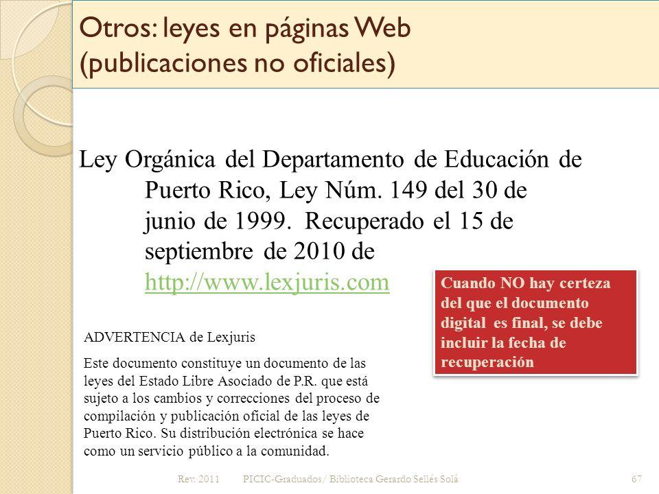 Otros: leyes en páginas Web (publicaciones no oficiales)