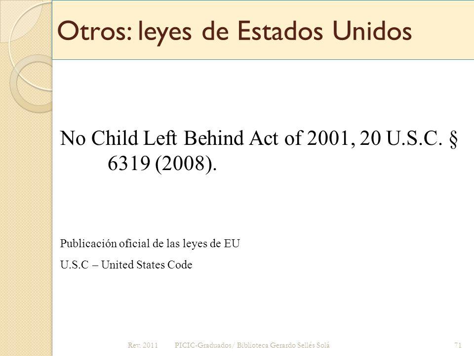 Otros: leyes de Estados Unidos