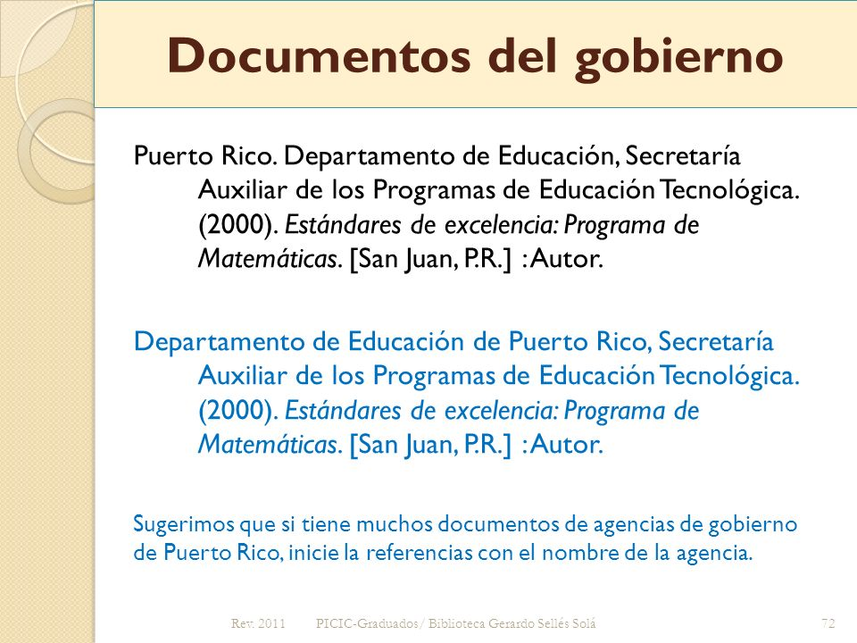 Documentos del gobierno