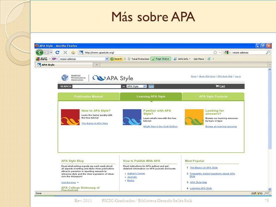 Más sobre APA http://www.apastyle.org Rev. 2011