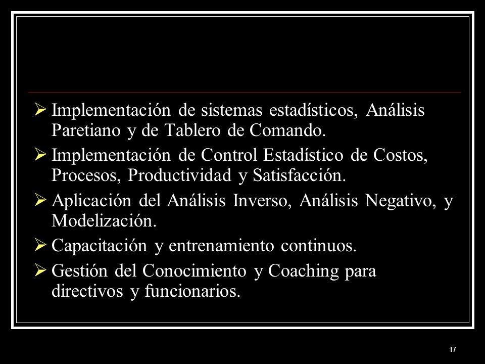 Implementación de sistemas estadísticos, Análisis Paretiano y de Tablero de Comando.