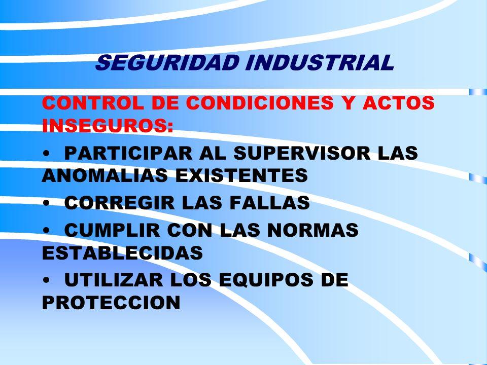 SEGURIDAD INDUSTRIAL CONTROL DE CONDICIONES Y ACTOS INSEGUROS: