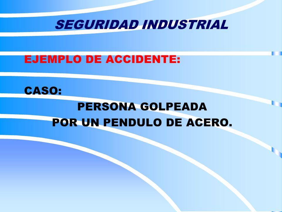 EJEMPLO DE ACCIDENTE: CASO: PERSONA GOLPEADA POR UN PENDULO DE ACERO.