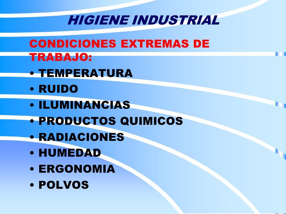 HIGIENE INDUSTRIAL CONDICIONES EXTREMAS DE TRABAJO: TEMPERATURA RUIDO