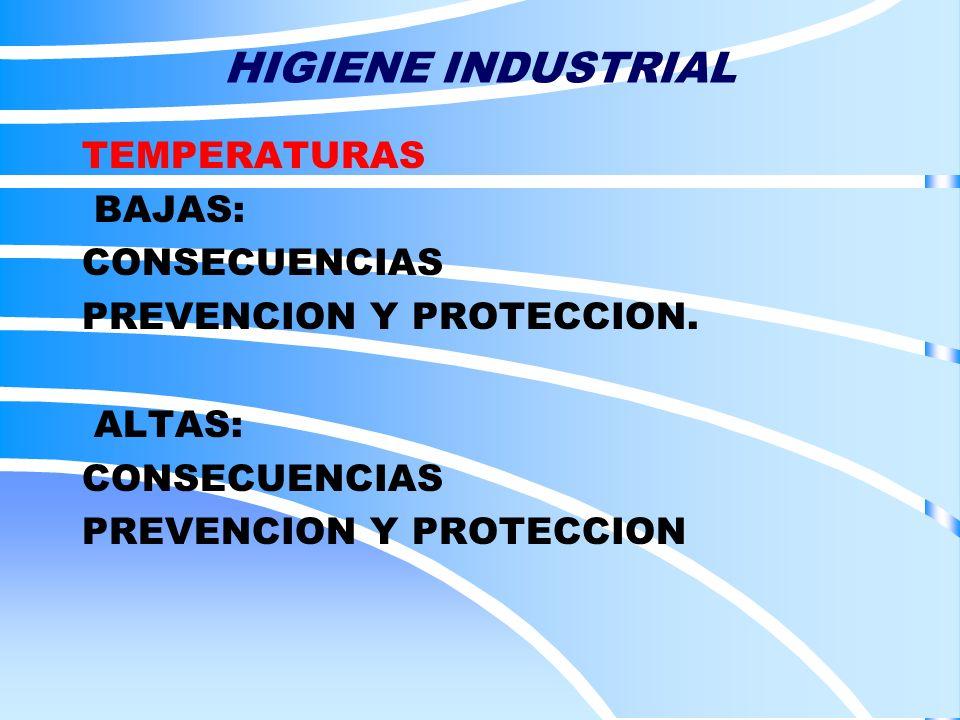 HIGIENE INDUSTRIAL TEMPERATURAS BAJAS: CONSECUENCIAS