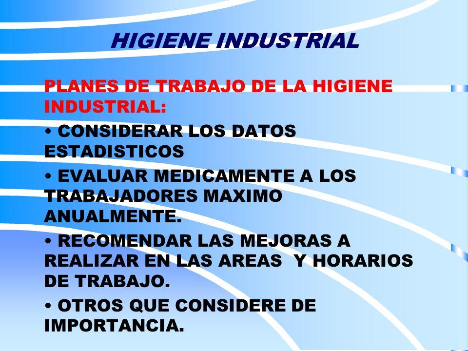 HIGIENE INDUSTRIAL PLANES DE TRABAJO DE LA HIGIENE INDUSTRIAL: