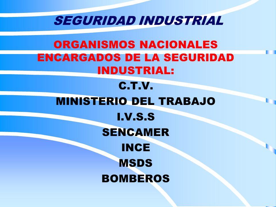 ORGANISMOS NACIONALES ENCARGADOS DE LA SEGURIDAD INDUSTRIAL: