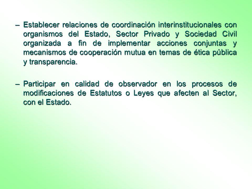 Establecer relaciones de coordinación interinstitucionales con organismos del Estado, Sector Privado y Sociedad Civil organizada a fin de implementar acciones conjuntas y mecanismos de cooperación mutua en temas de ética pública y transparencia.