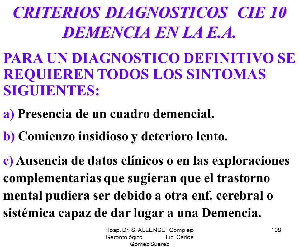 CRITERIOS DIAGNOSTICOS CIE 10 DEMENCIA EN LA E.A.