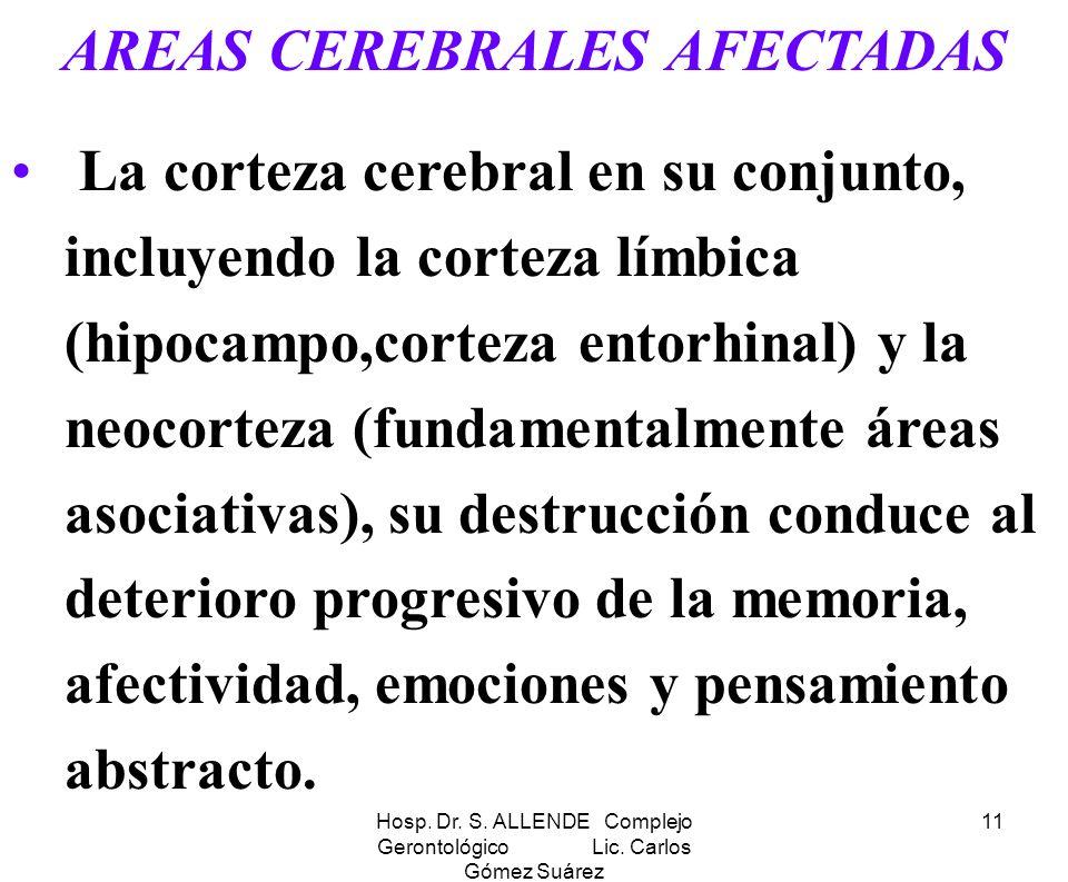 AREAS CEREBRALES AFECTADAS