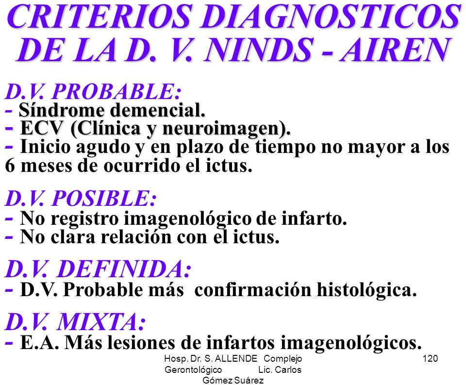 CRITERIOS DIAGNOSTICOS DE LA D. V. NINDS - AIREN