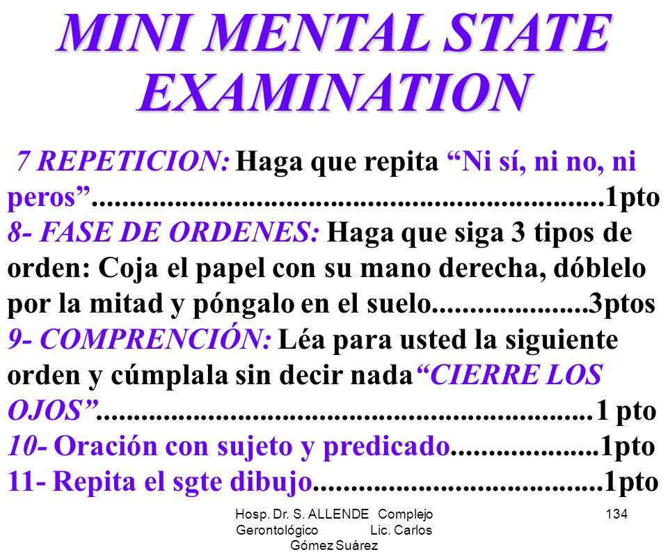 MINI MENTAL STATE EXAMINATION