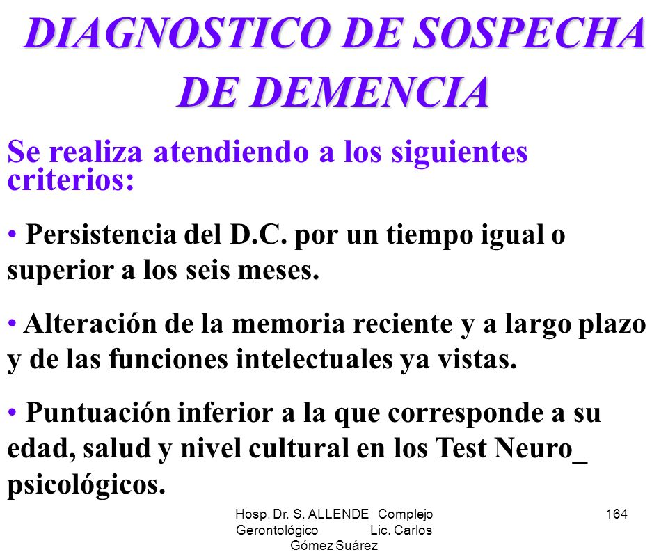 DIAGNOSTICO DE SOSPECHA DE DEMENCIA