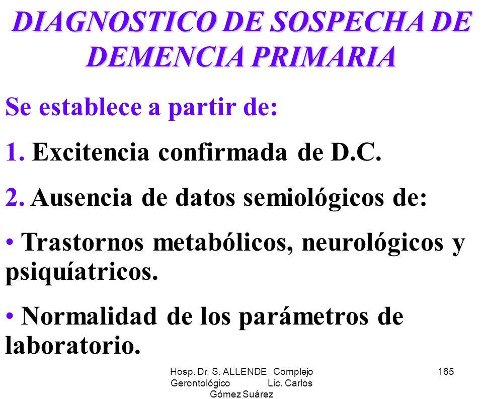 DIAGNOSTICO DE SOSPECHA DE DEMENCIA PRIMARIA