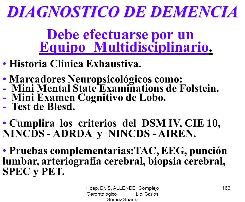 DIAGNOSTICO DE DEMENCIA