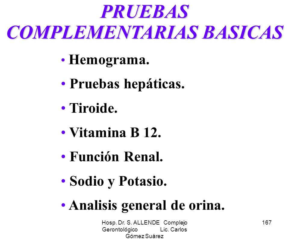 PRUEBAS COMPLEMENTARIAS BASICAS