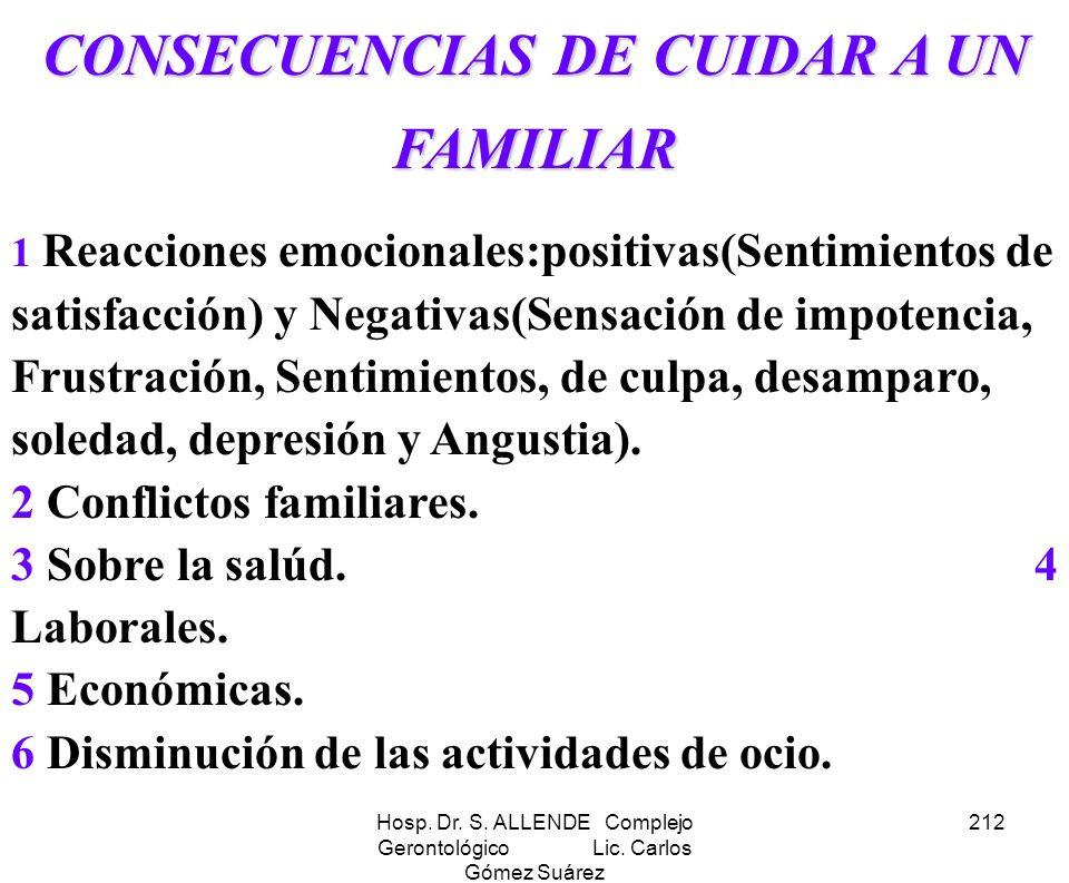 CONSECUENCIAS DE CUIDAR A UN FAMILIAR