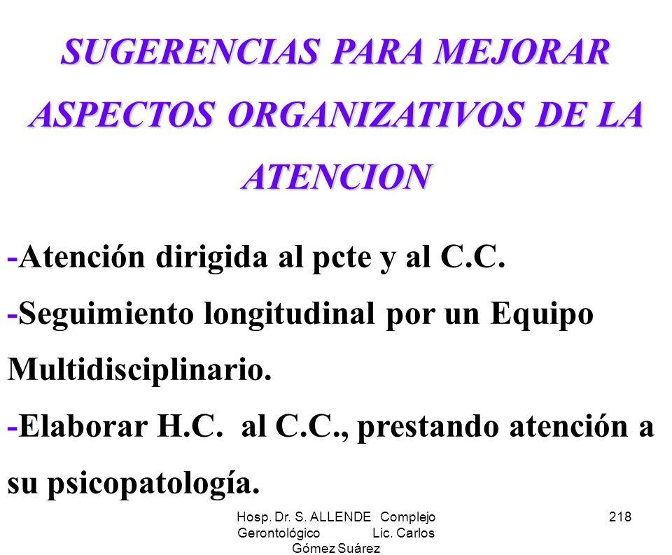 SUGERENCIAS PARA MEJORAR ASPECTOS ORGANIZATIVOS DE LA ATENCION