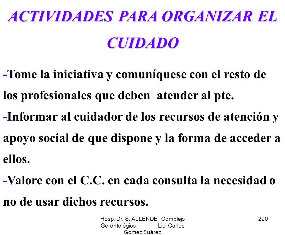 ACTIVIDADES PARA ORGANIZAR EL CUIDADO