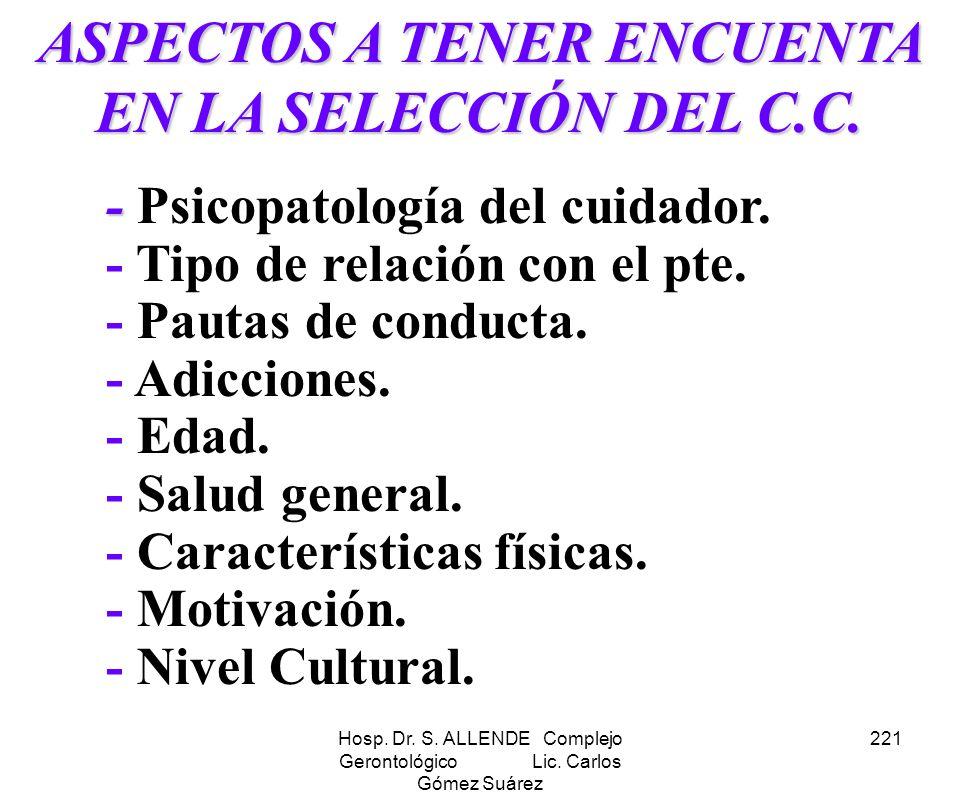 ASPECTOS A TENER ENCUENTA EN LA SELECCIÓN DEL C.C.