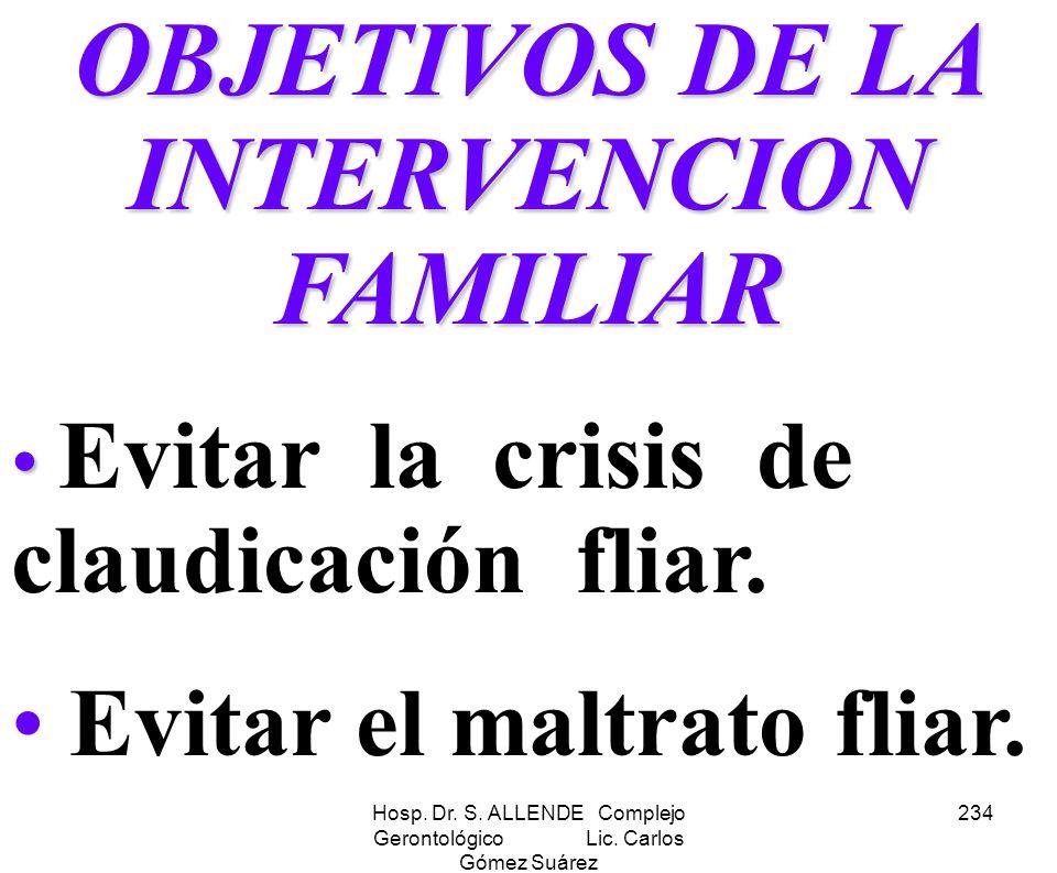 OBJETIVOS DE LA INTERVENCION FAMILIAR