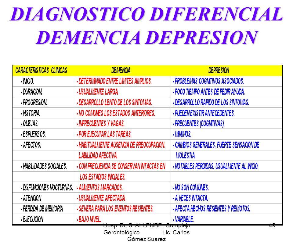 DIAGNOSTICO DIFERENCIAL DEMENCIA DEPRESION