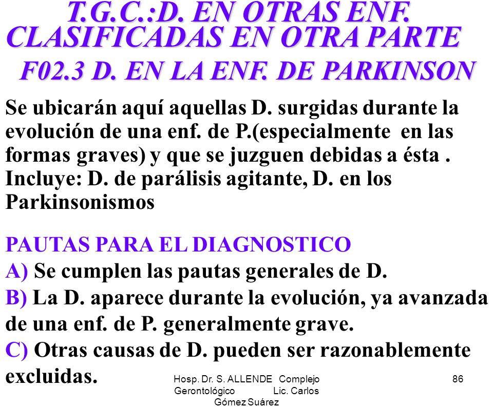 F02.3 D. EN LA ENF. DE PARKINSON