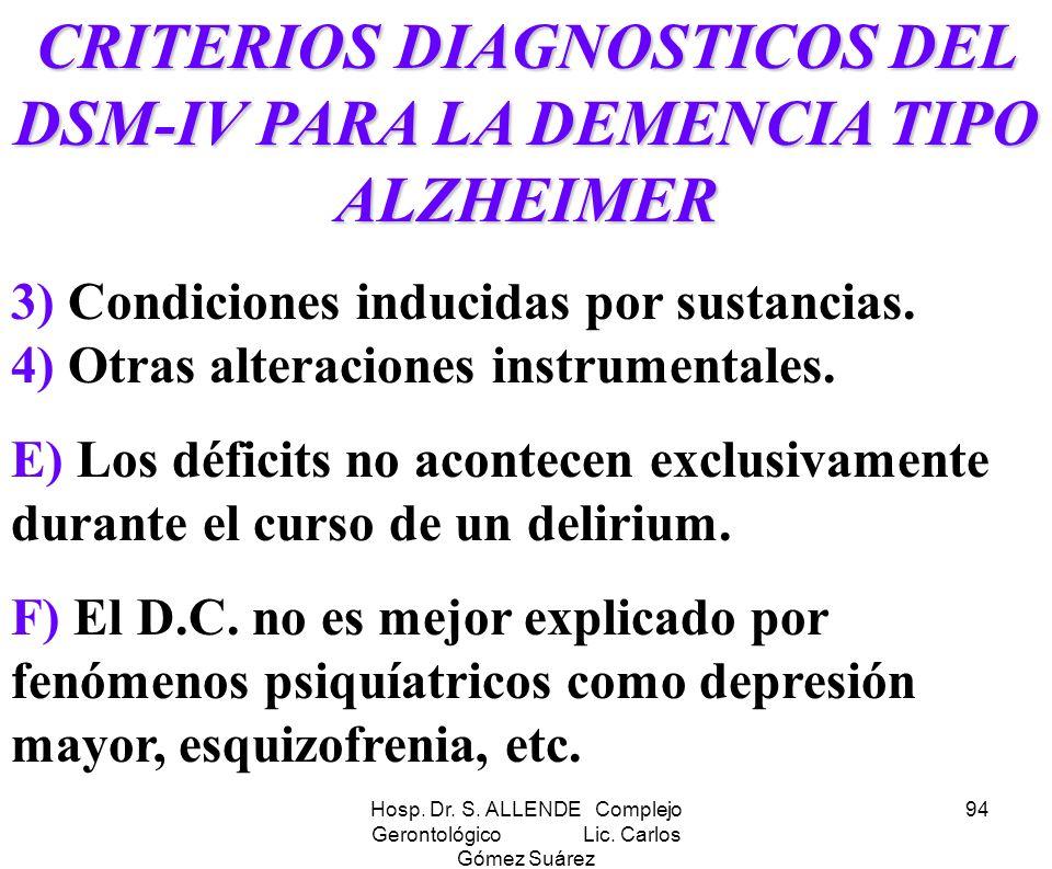 CRITERIOS DIAGNOSTICOS DEL DSM-IV PARA LA DEMENCIA TIPO ALZHEIMER