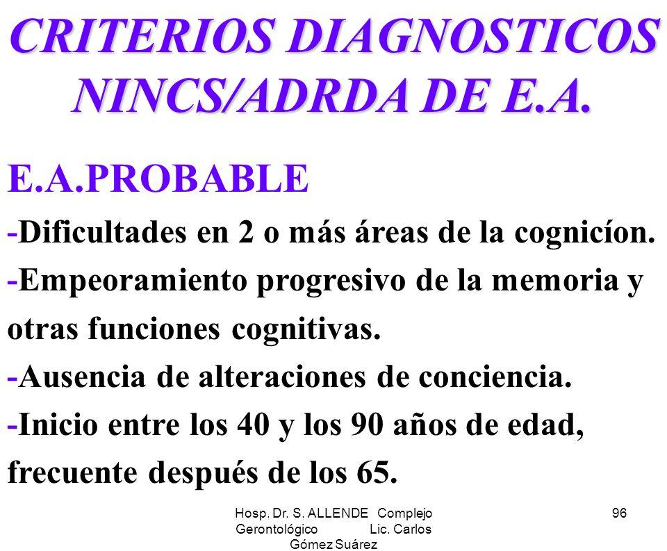CRITERIOS DIAGNOSTICOS NINCS/ADRDA DE E.A.
