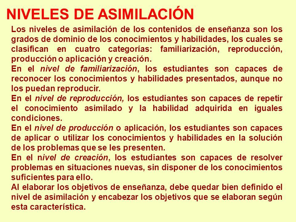 NIVELES DE ASIMILACIÓN