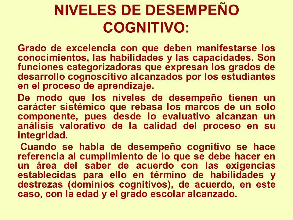 NIVELES DE DESEMPEÑO COGNITIVO: