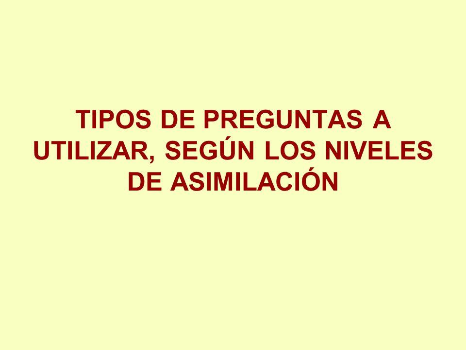 TIPOS DE PREGUNTAS A UTILIZAR, SEGÚN LOS NIVELES DE ASIMILACIÓN