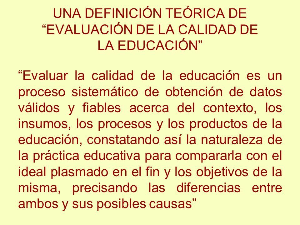 UNA DEFINICIÓN TEÓRICA DE EVALUACIÓN DE LA CALIDAD DE LA EDUCACIÓN