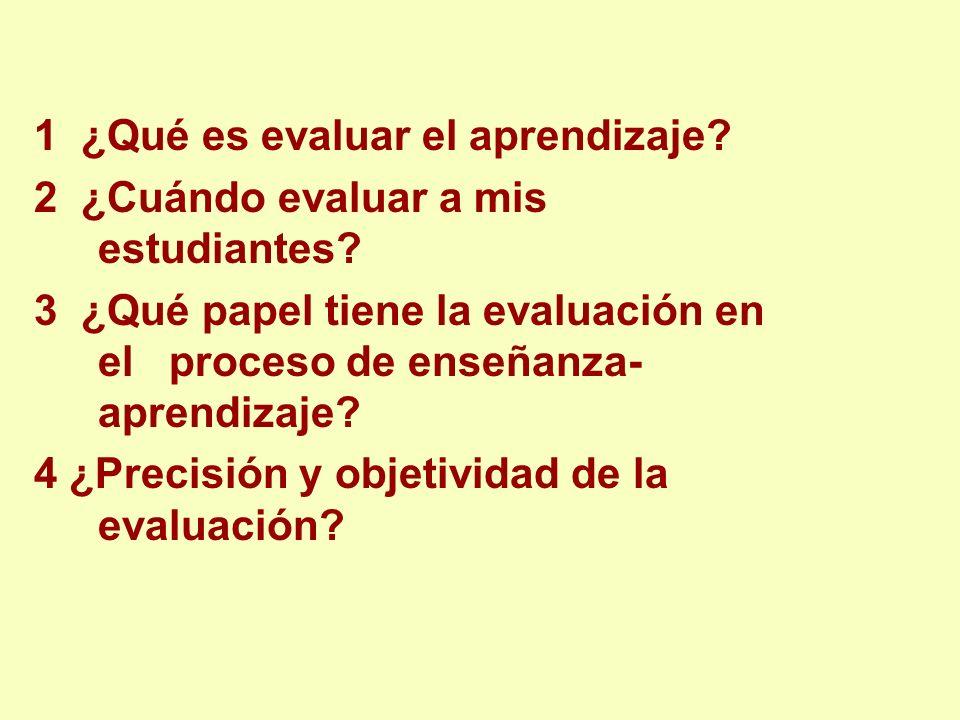 1 ¿Qué es evaluar el aprendizaje
