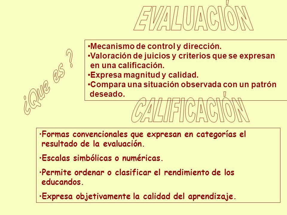 ¿Que es EVALUACIÓN CALIFICACIÓN Mecanismo de control y dirección.